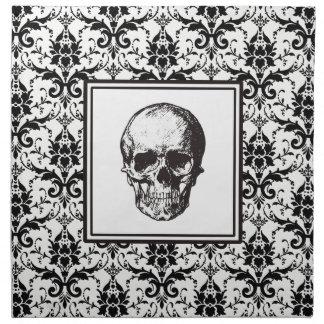 Serviettes De Table Crâne gothique noir de motif de damassé de