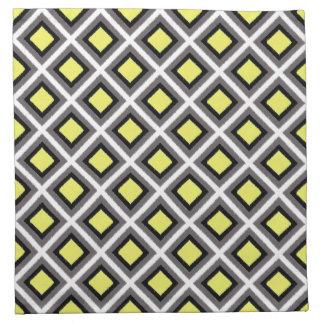 Serviettes De Table Diamants gris-foncé, noirs, jaunes STaylor d'Ikat