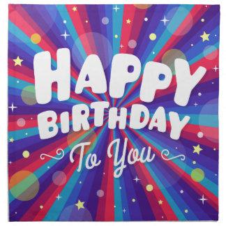 Serviettes De Table Éclat de couleur pourpre joyeux anniversaire
