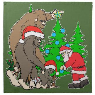 Serviettes De Table Famille et Père Noël de Bigfoot