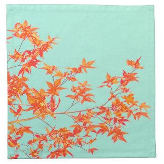 Serviettes De Table Feuille d'automne d'automne sur le vert en bon