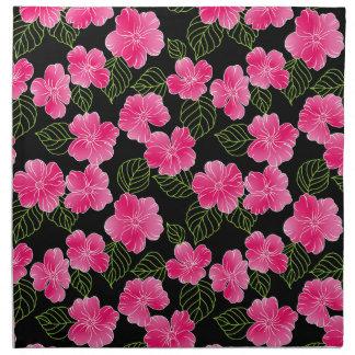 Serviettes De Table Fleurs roses lumineuses brillantes avec le feuille