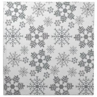 Serviettes De Table Flocons de neige argentés et gris