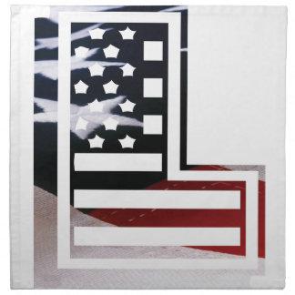Serviettes De Table Lettre L drapeau patriotique des Etats-Unis