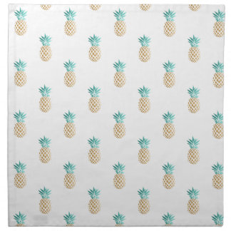 Serviettes De Table motif frais tropical d'ananas d'or de faux d'été