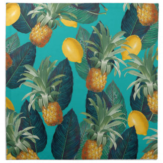 Serviettes De Table pineaple et citrons turquoises