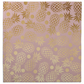 Serviettes De Table pois élégant de motif d'ananas d'or de faux