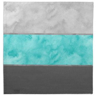 Serviettes De Table Rayures grises de bloc de turquoise