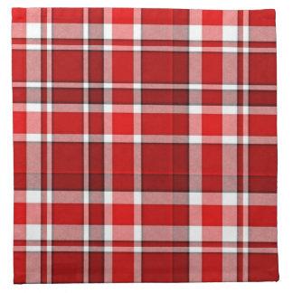 Serviettes De Table Tartan blanc rouge de plaid