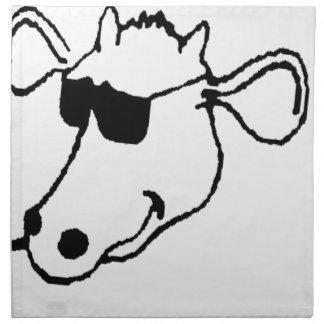 Serviettes De Table Vache de tabagisme avec des lunettes de soleil