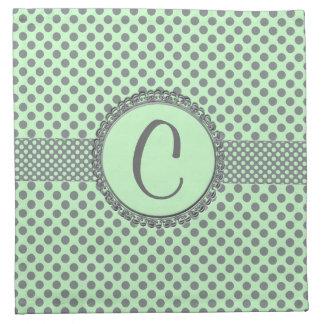 Serviettes De Table Vert de menthe avec le Point-Monogramme gris