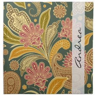 Serviettes De Table Votre nom - Persan Paisley - rouge jaune vert