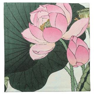 Serviettes de tissu de FLEUR de LOTUS de JAPONAIS