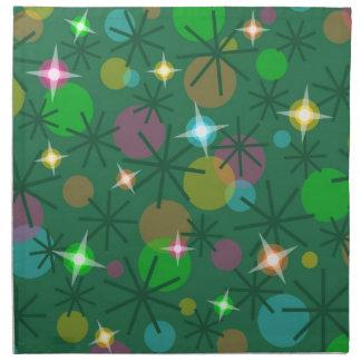 Serviettes de tissu de lumières de Noël