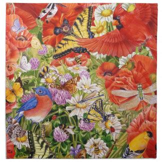 Serviettes de tissu d'oiseaux, de papillons et