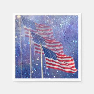 Serviettes En Papier 3 serviettes de drapeaux, patriotiques avec le
