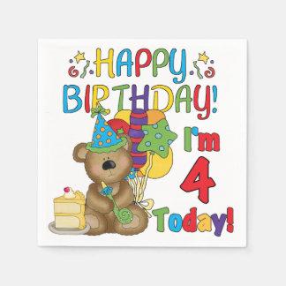Serviettes En Papier 4ème Serviettes de papier d'anniversaire d'ours de