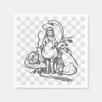 Serviettes En Papier Alice avec Caterpillar et le lapin blanc