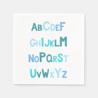 Serviettes En Papier Alphabet bleu de scintillement