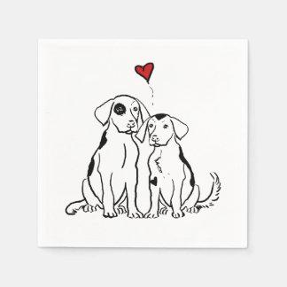 Serviettes En Papier Amour de chiot de deux chiens