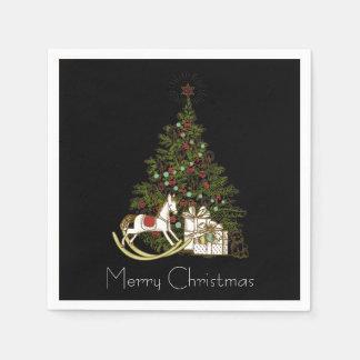 Serviettes En Papier Arbre de Noël sur les serviettes noires