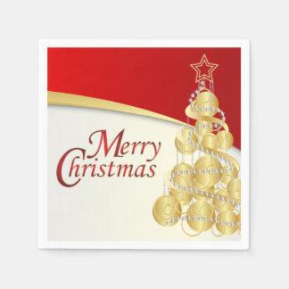 Serviettes En Papier Arbre élégant d'or de Joyeux Noël