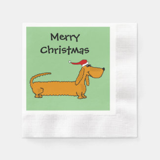 Serviettes En Papier Art drôle de Noël de teckel