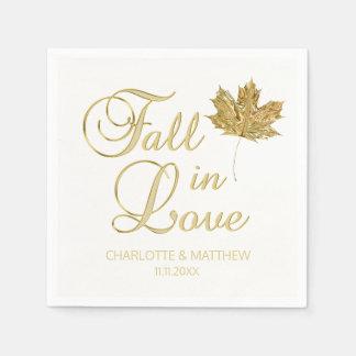 Serviettes En Papier Automne élégant d'automne dans le mariage d'or