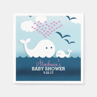 Serviettes En Papier Baby shower lunatique de baleines (fille)