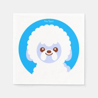 Serviettes En Papier Bande dessinée minimaliste de chien de Bichon