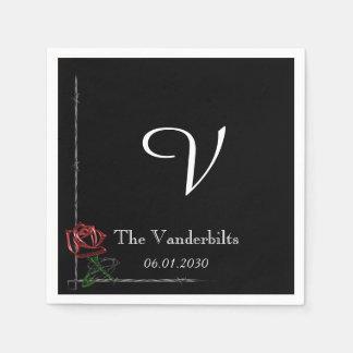Serviettes En Papier Barbelé gothique sur le mariage rose de monogramme
