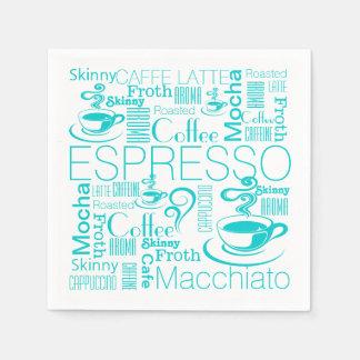 Serviettes En Papier Blanc d'aqua de motif de collage de café