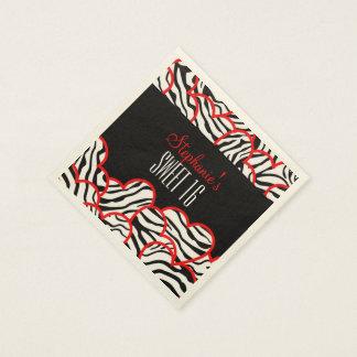 Serviettes En Papier Bonbon rouge à coeur de zèbre serviette de 16