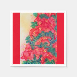 Serviettes En Papier Butins de poinsettia dans l'aquarelle d'arbre de
