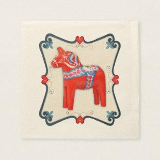 Serviettes En Papier Cheval de Dala de Suédois avec le cadre de feston