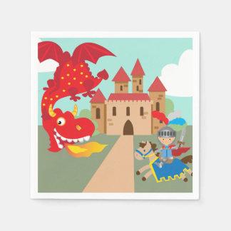 Serviettes En Papier Chevalier d'équitation et dragon de vol rouge