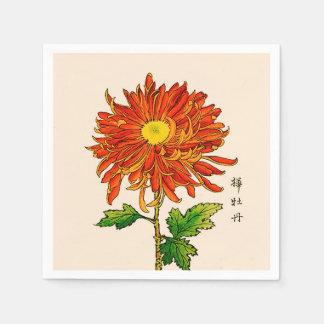 Serviettes En Papier Chrysanthème japonais vintage. Orange et or