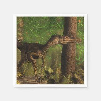 Serviettes En Papier Dinosaure de Velociraptor dans la forêt
