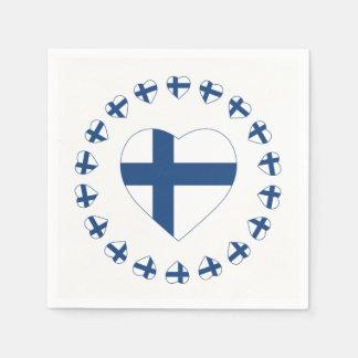 SERVIETTES EN PAPIER DRAPEAU DE FORME DE COEUR DE SUOMI FINLANDE