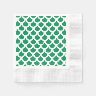 Serviettes En Papier Échelle de poissons verte 2