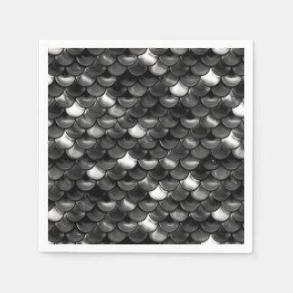 Serviettes En Papier Échelles noires et blanches de Falln