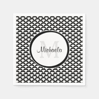 Serviettes En Papier Festons noirs et blancs modernes monogramme et nom