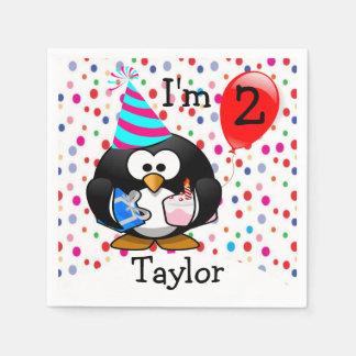 Serviettes En Papier Fête d'anniversaire personnalisée de pingouin de