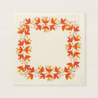 Serviettes En Papier Frontière de feuille d'automne