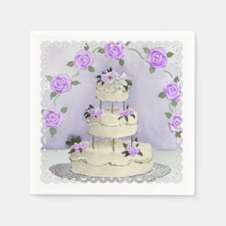 Serviettes En Papier Gâteau et roses de mariage d'aquarelle