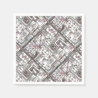 Serviettes En Papier Griffonnage géométrique Original-Lunatique
