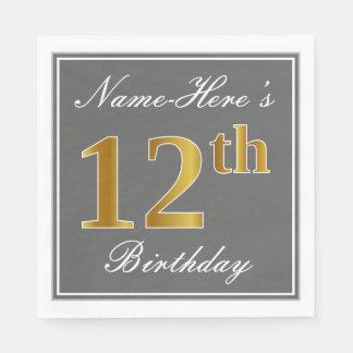Serviettes En Papier Gris élégant, anniversaire d'or de Faux 12ème ;