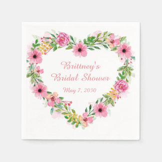 Serviettes En Papier Guirlande florale rose en forme de coeur