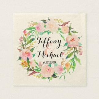 Serviettes En Papier Guirlande florale Wedding-3 d'aquarelle chic