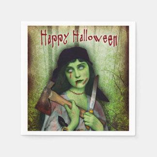 Serviettes En Papier Horreur gothique de Halloween de fille de zombi